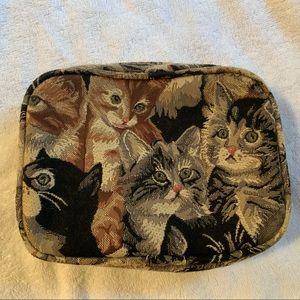"ADORABLE CATS MAKE UP BAG 8X6"" EUC"